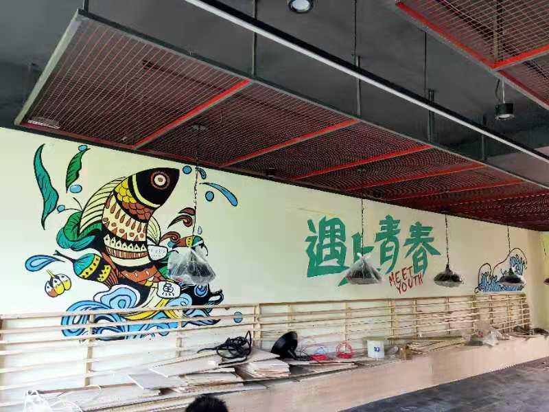 馋火炉鱼 墙绘 墙体彩绘