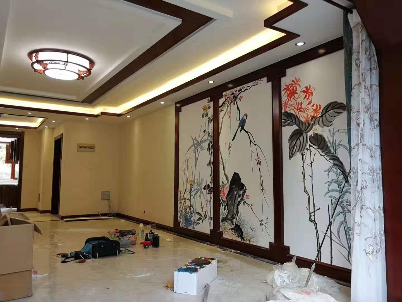 招待所别墅区 墙体彩绘  墙绘